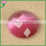HS-31 decorative pink round flat back checkerboard cut imitated glass cat eye gem for earring