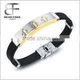 Factory directly Mens Cuff Bangle Bracelet Stainless Steel Silicone Rubber Gold Black Silver satin-finished