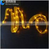 Yellow bulb 2meter 20led copper wire lighting string with white ribbon with 2AA battery operated
