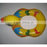 customized yellow duck plastic animal pool rider,hot sale inflatable animal swimming ring