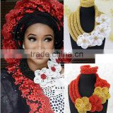 New flower design african beads jewelry set for wedding/asoebi coral jewelry/Aso Oke beads necklace jewelry                                                                         Quality Choice