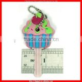 Delicious Ice Cream 3D Soft pvc key cover with bead chain and plastic keys (MYD-KC1656)