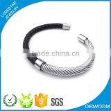 New design Stainless steel leather bracelet bangle mens bio magnetic leather bracelet MXBA-80038