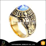 Vintage Style Cheap Stainless Steel 18k Gold Plated Blue Diamond Mens Jewelry Rings Stainless Steel Ring Men