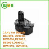 Rechargeable nimh 14.4V replacement battery for dewalt dw9091 14.4V