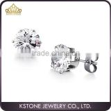 KSTONE 2015 new fashion 316L Stainless Steel Big diamond stud earring CZ stud earring