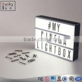 Modern A4 Led Lightbox Three Line Cinema Light Box Acrylic AA Battery Powered USB Cable+ 85 Letters Numbers DIY Home Art Decor