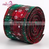 Outdoor 2 inch burlap jute printed christmas celebrate it ribbon