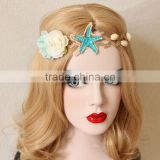 Fashion holiday hair bands Elastic beach style starfish&shell flower hair hoop women flower hair accessory jewelry