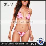 MGOO Fashion Pink Lip Print Bikini Set Poly Stretchy Fabric Sexy Minimal Design Swimwear Triangle Gathered