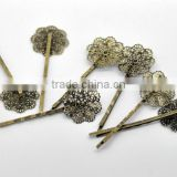 "Antique Bronze Filigree Flower Bobby Pins Hair Clips 6.4x2.3cm(2-1/2""x7/8""), sold per pack of 30,Customize"
