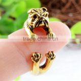 Dog Pet Animal Ring Jewelry Vintage Antique Gold Silver Wrap Adjustable Ring