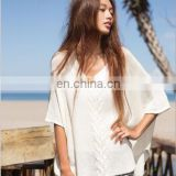Europe And America Bat-Wing Sleeve Knitting Sandbeach Bikini Shirt
