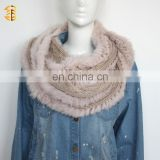 Hight Quality Women Hooded Scarf Hat Knitted Wool with Real Fox Fur