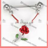 Fun and Fantastic Sexy Nipple Jewelry only from Painful Pleasures in stainless steel with rose shaped dangle body jewelry ring