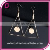 Manual geometry triangle character simple pearl earrings