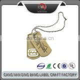 Wholesale Promotional Cheap Two Piece Type Custom Brass Engraved Military Dog Tag Pendant