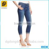 China manufacture selling fashion design 100% cotton women pants casual blue women denim jeans