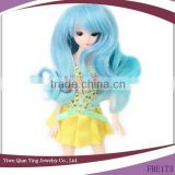 blue curly synthetic small doll bjd hair wig