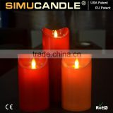 flameless moving wick led candle in candles with USA and EU patent,led candle made of special resin