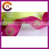 Gold printing custom made cheap pink thread paw print ribbon