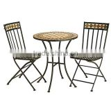 Barcelona Mosaic Slate Outdoor Bistro Table and 2 Folding Chairs                                                                         Quality Choice