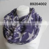 digital print custom design silk scarf classic star printing ring scarf fabric women