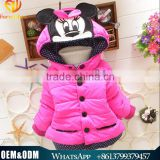 2015 Latest Hot Baby Winter Clothing Kids Hooded Outwear Girl Thick Warm Minnie Winter Coat