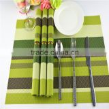 Green with brown stripe table mat place mat pvc colorful and cute placemat,woven place mat table mat