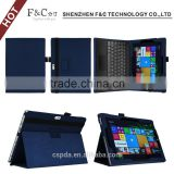 Classical blue pu leather elastic band tablet case for microsoft surface pro 4 with stand