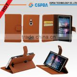 For Nokia Lumia 925 cell phone brown color wallet style leather case with stand