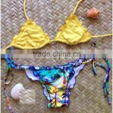 2015 Fashion sexy print withlace bandage slim sexy bikini&models