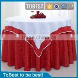 ToBest Wholesale hotel linen / restaurant / wedding red jacquard round table cloth / chair cover