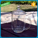 New design Chinese glass with cover tea cup with handle customed logo wholesale tea glass mugs