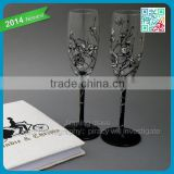 READY TO SHIP hand painted champagne glasses Groom and bride on bicycle and vintage flowers popular wedding long stem goblet