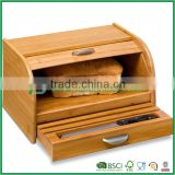 Bamboo Rolltop bread box with pull-out drawer