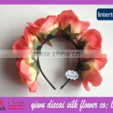 Multiple big rose artificial fabric flower satin covered headband