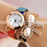 Ladies Dress Watches Fashion with Purl & Wool Plastic Pearl Analog Quartz Watch Casual Wristwatch Cheap Wholesale Watch