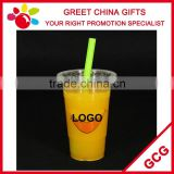 Promotional Custom Logo Disposable Clear Plastic Cup with Flat Lid PP Beverage Juice Cup                                                                         Quality Choice