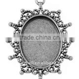 Zinc Alloy Cabochon Settings, Lead Free & Nickel Free, Oval, Antique Silver, about 40x30x2mm, about 24x18mm, hole: 2mm(PALLOY-A1