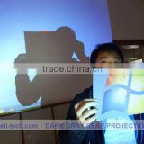 1.5M*10M Dark grey color adhesive back projection screen foil ,holographic Projection screen for window advertisig!!