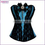 Front Lace Up Stunning Steampunk Deep Sky Blue Overbust Corset