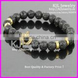 KJL-A0248 wholesale gold hamsa palm charm bracelet,natural lava stone beaded evil eye bracelet bangle