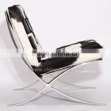 Leather furniture chair cowhide white barcelona chair