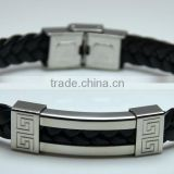 New Design Woven Bangles Jewelry Cow Leather Part Hollow Stainless Steel Engraved Chinese Strip Punk Mans Rope Bracelets