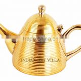 IndianArtVilla Brass Cone Lining Tea Pot Kettle 500 ML - Serving Tea Coffee Tableware Decorative Home Hotel Restaurant Gift item