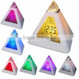 Top sale triangle color changing digital alarm clock/desk clock/calendar clock