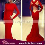 2015 designer evening dress patterns designal red backless bandage long dress for party formal long sleeve mermaid women dress