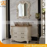 CRW luxury floor standing bathroom cabinets with sink white wooden baroque antique bathroom washbasin cabinet vanity designs