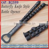 "(OP-B2599) 5"" Stainless Steel Black Butterfly Knife Style Flick Mens Beer Bottle Opener"